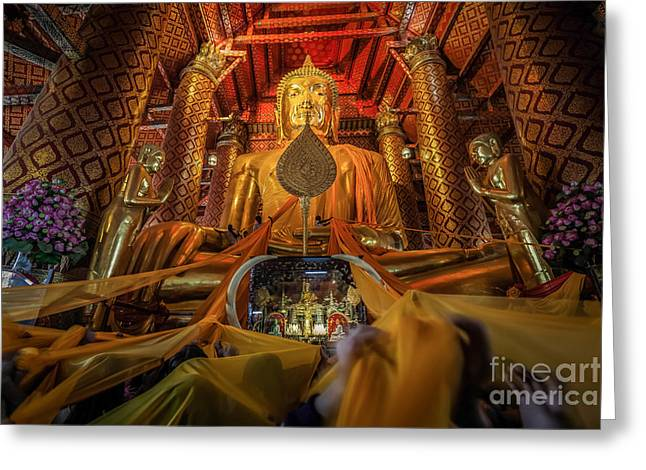 Ayuthaya Greeting Cards - The big Buddha statue is in Ayuttaya Greeting Card by Anek Suwannaphoom