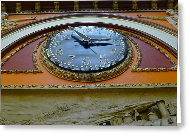 Large Clock Greeting Cards - The Big Clock Greeting Card by Denise Mazzocco