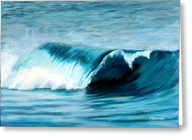 Pacific Ocean Prints Greeting Cards - The Big Curl Greeting Card by Mary Giacomini