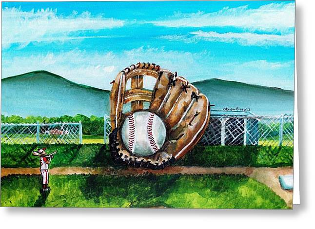 The Big Leagues Greeting Card by Shana Rowe
