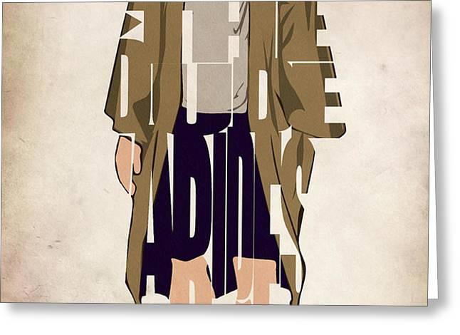 The Big Lebowski Inspired The Dude Typography Artwork Greeting Card by Ayse Deniz