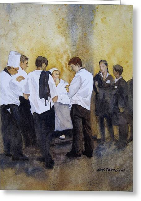 Waitress Paintings Greeting Cards - The Big Night Greeting Card by Kris Parins