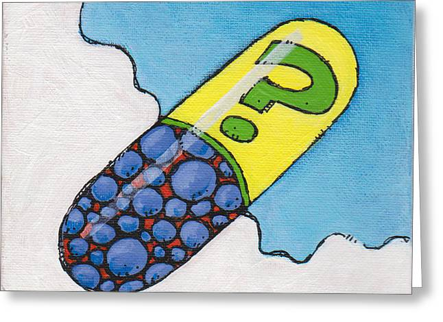 Pill Paintings Greeting Cards - The Big Pill Tiny Daily Reiki 024 Greeting Card by SpiritPainter