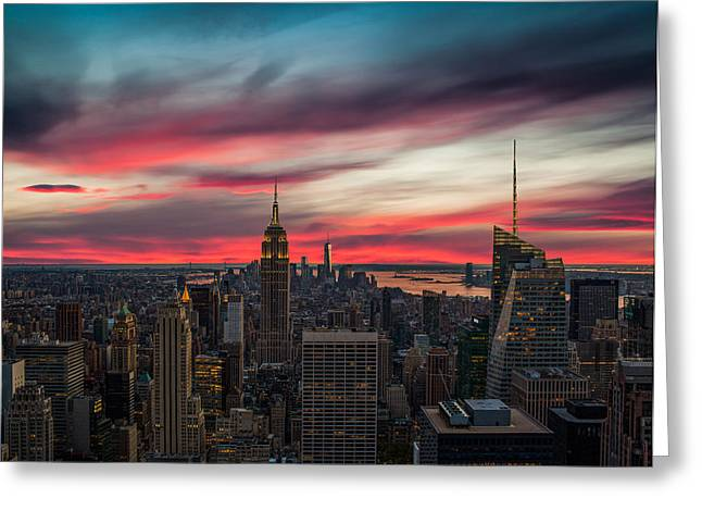 Empire State Building Greeting Cards - The Big Red Apple Greeting Card by Peter Irwindale