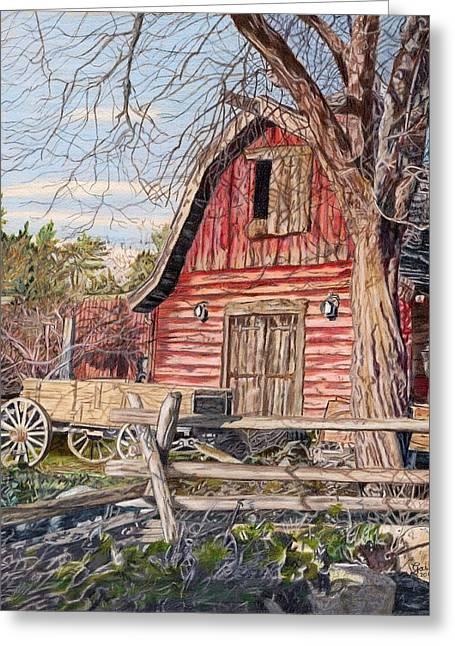 The Big Red Barn Greeting Card by Gail Seufferlein
