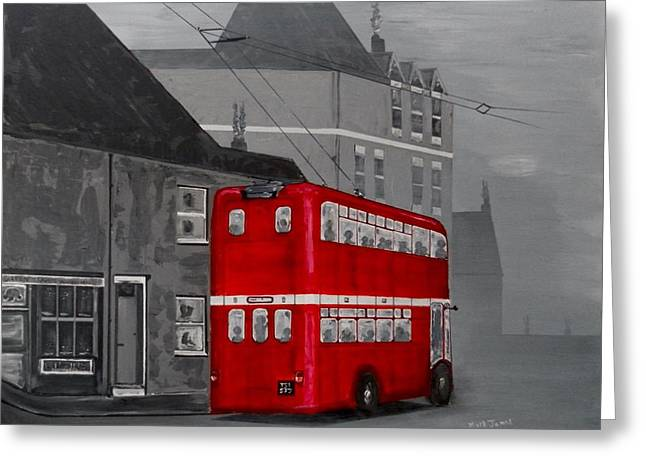 Tram Red Paintings Greeting Cards - The big red bus Greeting Card by Mark James