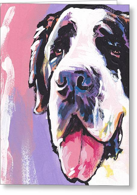 St Bernard Greeting Cards - The Big Saint Greeting Card by Lea