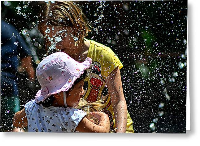 Playing Digital Art Greeting Cards - The Big Splash Greeting Card by Camille Lopez
