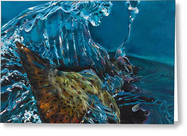 Brown Trout Greeting Cards - The Big Splash Greeting Card by Les Herman