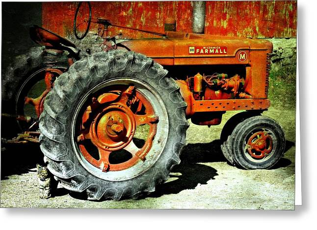 Red Tractors Greeting Cards - The Big Wheel Greeting Card by Diana Angstadt
