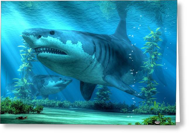 White Shark Greeting Cards - The Biggest Shark Greeting Card by Daniel Eskridge