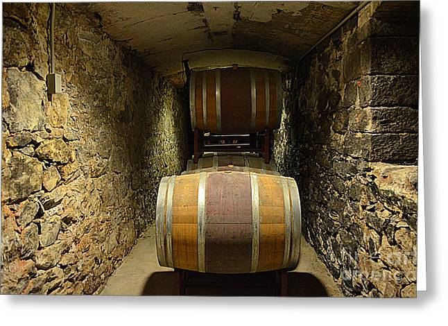 Basement Greeting Cards - The Biltmore Estate Wine Barrels Greeting Card by Luther   Fine Art