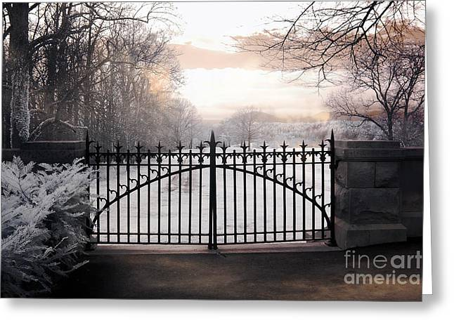The Houses Photographs Greeting Cards - The Biltmore House Gates - Biltmore Estate Mansion Gate Nature Landscape Greeting Card by Kathy Fornal