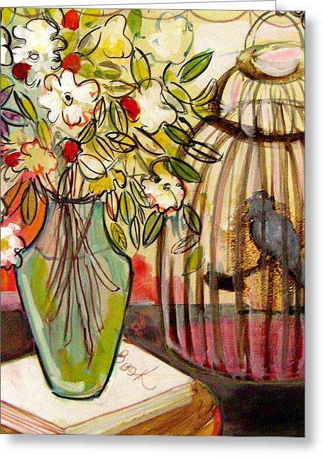 Vase Of Flowers Mixed Media Greeting Cards - The Bird and the Book Greeting Card by Melinda Jones