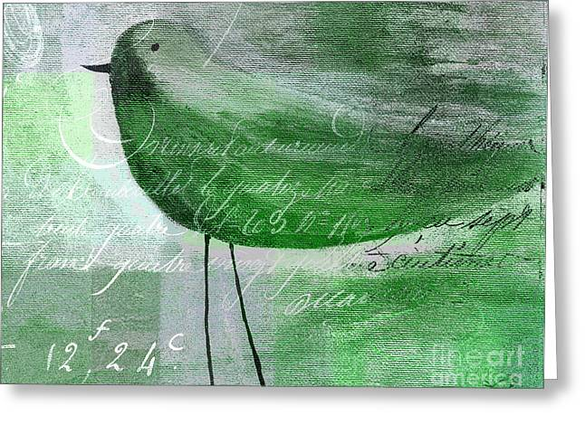 Green Geometric Greeting Cards - The Bird - gr-j099225225-02 Greeting Card by Variance Collections