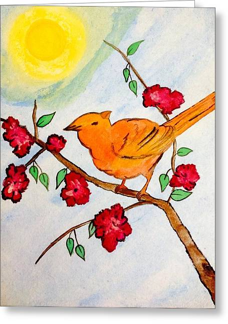 Bird On Tree Drawings Greeting Cards - The bird Greeting Card by Gurkirat Gill