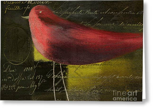 Script Greeting Cards - The Bird - j100124164-c11c Greeting Card by Variance Collections