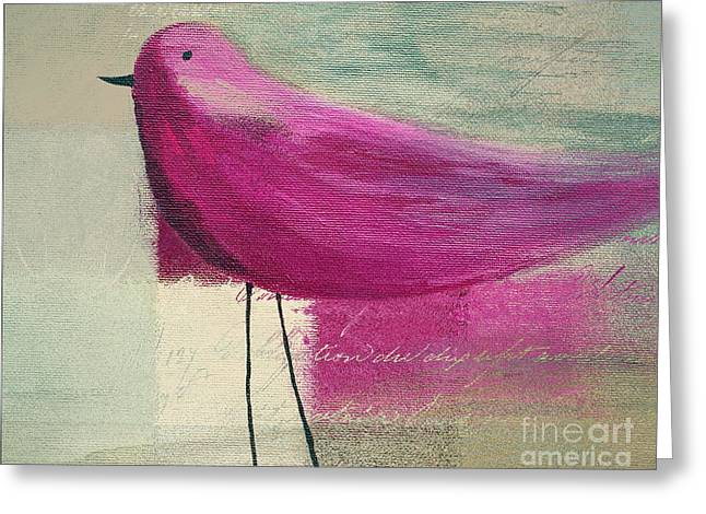 Beige Greeting Cards - The Bird - j100124164-c15a Greeting Card by Variance Collections