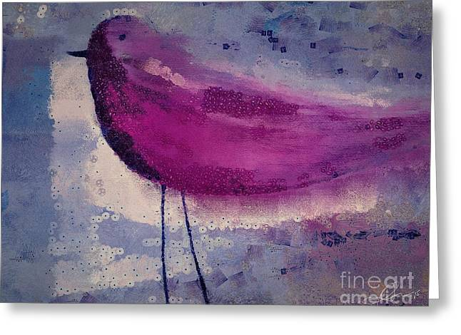 Violet Purple Greeting Cards - The Bird - k09144 Greeting Card by Variance Collections