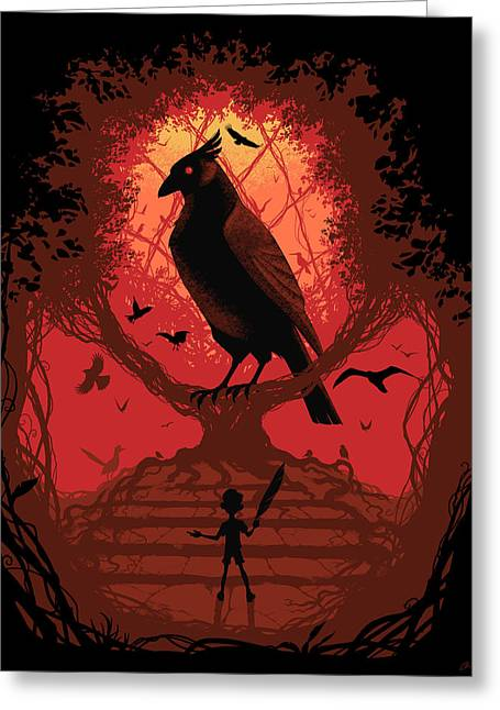 Little Boy Digital Greeting Cards - The Bird King Greeting Card by Christopher Ables