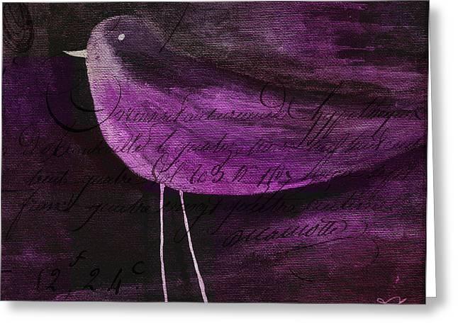 Purples Greeting Cards - The Bird - s55prmd01t03 Greeting Card by Variance Collections
