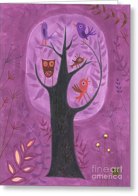 Baby Bird Drawings Greeting Cards - The Bird Tree Greeting Card by Kate Cosgrove