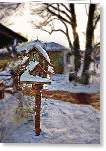 Snowy Evening Mixed Media Greeting Cards - The Birdhouse - Rural Still Life Greeting Card by Steve Ohlsen