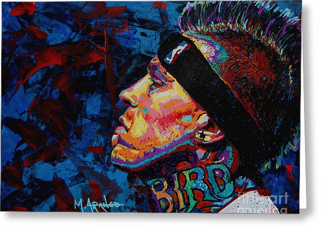 Denver Nuggets Greeting Cards - The Birdman Chris Andersen Greeting Card by Maria Arango
