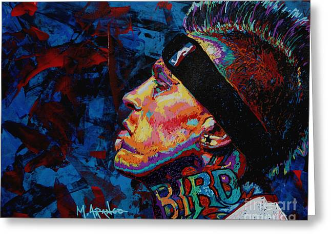 Freed Paintings Greeting Cards - The Birdman Chris Andersen Greeting Card by Maria Arango