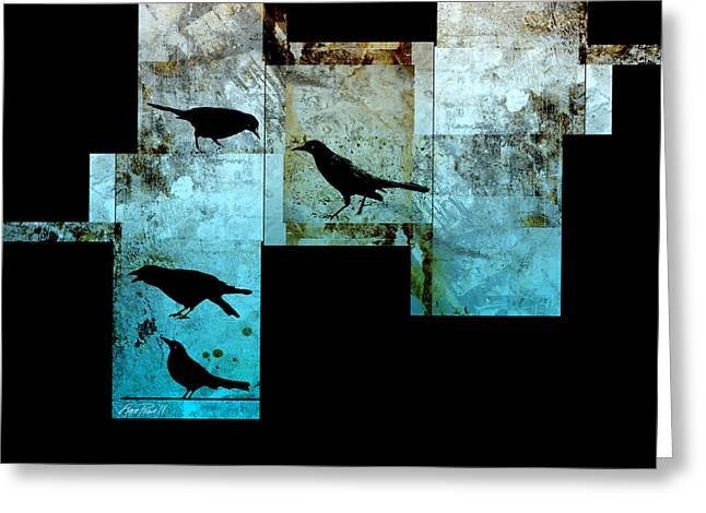 Crow Mixed Media Greeting Cards - The Birds abstract - art Greeting Card by Ann Powell