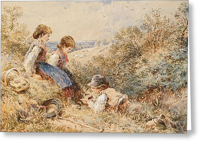 The Bird's Nest Greeting Card by Myles Birket Foster