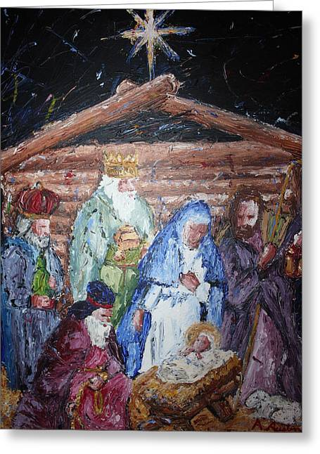 Baby In A Manger Greeting Cards - The Birth  Greeting Card by Ahmad Austin