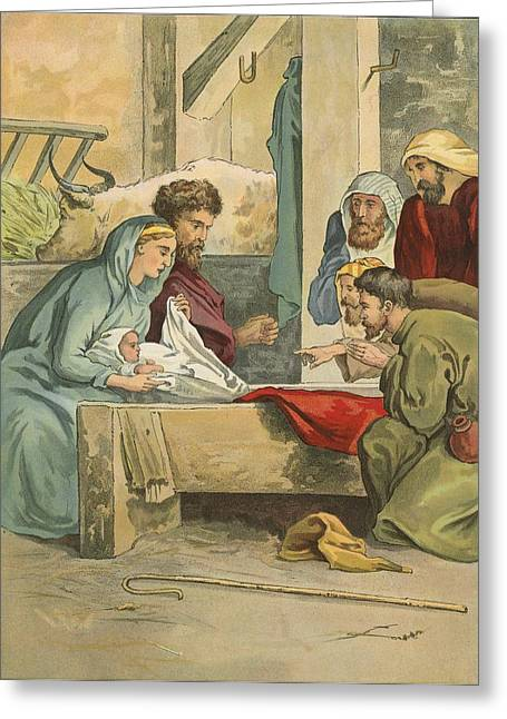 Spiritual Birth Greeting Cards - The Birth of Christ Greeting Card by English School
