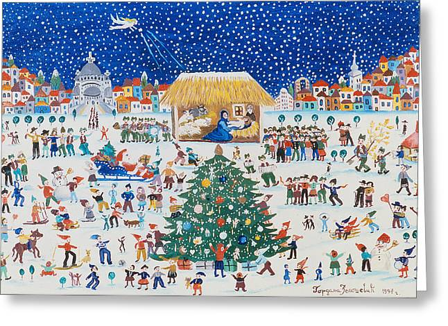 Birth Of Christ Greeting Cards - The Birth of Christ Greeting Card by Gordana Delosevic