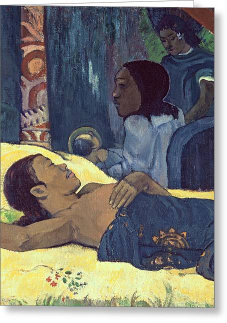 Tired On Bed Greeting Cards - The Birth of Christ Greeting Card by Paul Gauguin