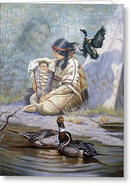 Child Care Mixed Media Greeting Cards - The Birth of Hiawatha Greeting Card by Gregory Perillo