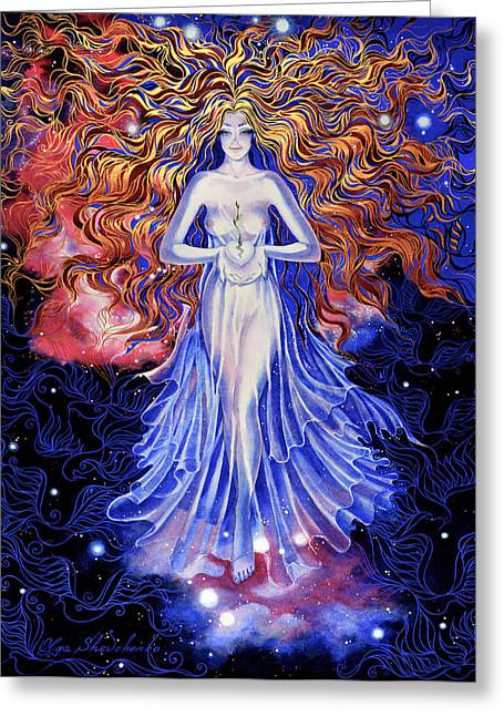 Angel With Star Greeting Cards - The Birth of Hope Greeting Card by Olga Shevchenko