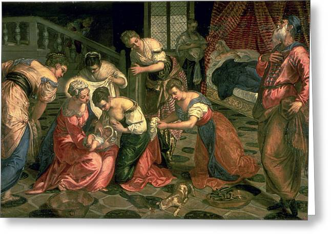 The Birth Of St. John The Baptist, 1550-59 Oil On Canvas Greeting Card by Jacopo Robusti Tintoretto