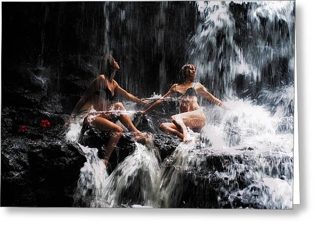 Double Rainbow Greeting Cards - The Birth of the Double Star. Anna at Eureka Waterfalls. Mauritius. TNM Greeting Card by Jenny Rainbow