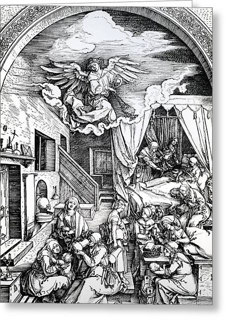 Biblical Scene Greeting Cards - The Birth Of The Virgin, From The Cycle Of The Life Of The Virgin, 1511 Woodcut On Paper Greeting Card by Albrecht Dürer or Duerer