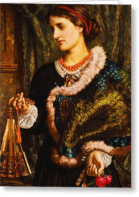 Watch Paintings Greeting Cards - The Birthday Greeting Card by William Holman Hunt
