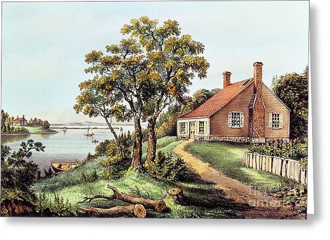 Nathaniel Greeting Cards - The Birthplace of Washington at Bridges Creek Greeting Card by Currier and Ives