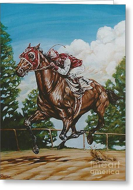 Recently Sold -  - Race Horse Greeting Cards - The Biscuit Greeting Card by Jo-Ellen Linkow