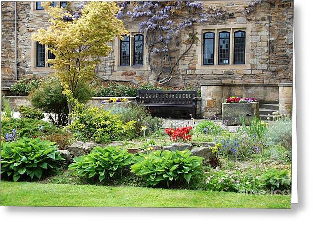 Stone Flower Planter Greeting Cards - The Bishops Garden Greeting Card by Ross Sharp