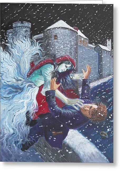 Hogan Bridge Greeting Cards - The Bishops Lady attacking Thady Greeting Card by Tomas OMaoldomhnaigh