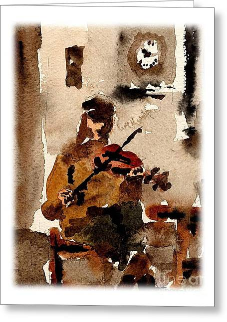 Sean Paintings Greeting Cards - The Blasket Fiddle Player Greeting Card by Val Byrne