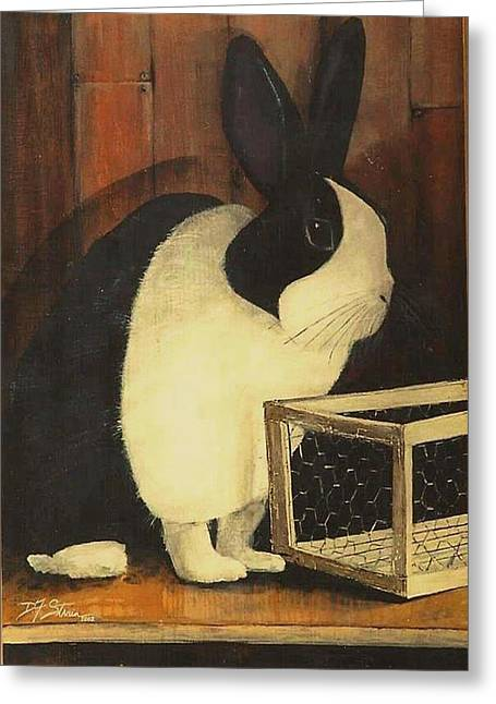 The Black And White Dutch Rabbit  2 Greeting Card by Diane Strain