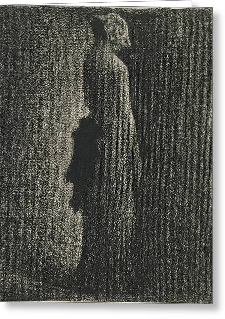 Seurat Greeting Cards - The Black Bow Greeting Card by Georges Seurat