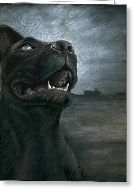 Dog Walking Greeting Cards - The Black Dog Greeting Card by Mark Zelmer