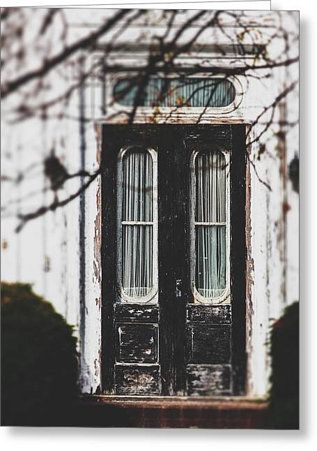Transoms Greeting Cards - The Black Door Greeting Card by Lisa Russo